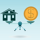 The symbol of the house and a gold dollar coin on the scales. In balance. The purchase of real estate, mortgage, insurance royalty free illustration