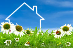Symbol of a house on green sunny field. Symbol of a house for construction, eco, ecology, loan, mortgage, property or home Stock Photo