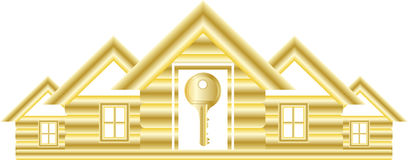 Symbol with house and key Royalty Free Stock Photo