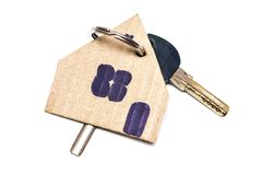 Symbol of the house with key on white isolated background Royalty Free Stock Images