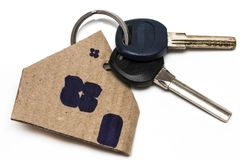 Symbol of the house with key on white isolated background Royalty Free Stock Image