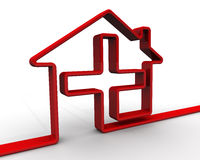 Symbol of the house with a medical cross Royalty Free Stock Photos