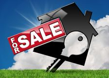 Symbol of a House For Sale with a Key. House symbol with a text for sale and a key - 3D illustration. On a green grass, blue sky with clouds and sun rays Stock Images