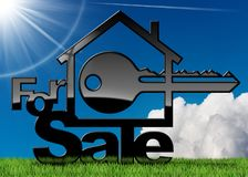 Symbol of a House For Sale with a Key. House symbol with a text for sale and a key - 3D illustration. On a green grass, blue sky with clouds and sun rays Royalty Free Stock Images