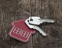 Symbol of the house with silver key Stock Photos
