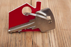 Symbol of the house with silver key Stock Photo