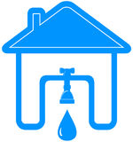 Symbol with house, tap, spigot and drop Royalty Free Stock Photos