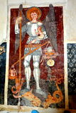 Symbol i den gamla stärkte kyrkliga Dirjiuen, Transylvania, Rumänien Arkivfoto