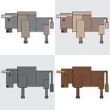 Symbol icon rectangle animal bison bull Stock Image