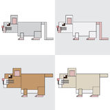 Symbol icon rectangle animal mouse hamster Stock Images
