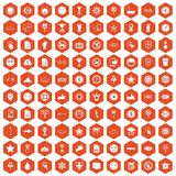 100 symbol icons hexagon orange. 100 symbol icons set in orange hexagon isolated vector illustration Stock Illustration