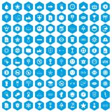 100 symbol icons set blue. 100 symbol icons set in blue hexagon isolated vector illustration Vector Illustration