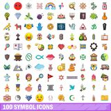 100 symbol icons set, cartoon style. 100 symbol icons set. Cartoon illustration of 100 symbol vector icons isolated on white background Stock Images