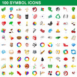 100 symbol icons set, cartoon style. 100 symbol icons set in cartoon style for any design vector illustration Royalty Free Stock Images