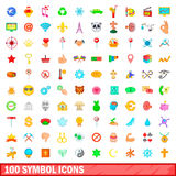 100 symbol icons set, cartoon style Royalty Free Stock Images