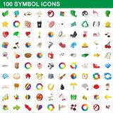 100 symbol icons set, cartoon style. 100 symbol icons set in cartoon style for any design illustration stock illustration