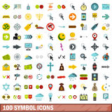100 symbol icons set, flat style Stock Photos