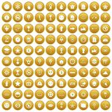 100 symbol icons set gold. 100 symbol icons set in gold circle isolated on white vector illustration vector illustration