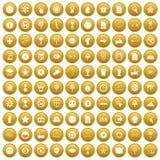 100 symbol icons set gold. 100 symbol icons set in gold circle isolated on white vector illustration Stock Image