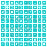 100 symbol icons set grunge blue Stock Images