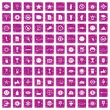 100 symbol icons set grunge pink. 100 symbol icons set in grunge style pink color isolated on white background vector illustration Stock Photo