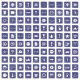 100 symbol icons set grunge sapphire. 100 symbol icons set in grunge style sapphire color isolated on white background vector illustration Royalty Free Stock Photo