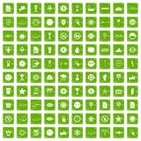 100 symbol icons set grunge green. 100 symbol icons set in grunge style green color isolated on white background vector illustration Royalty Free Stock Photo