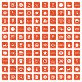 100 symbol icons set grunge orange. 100 symbol icons set in grunge style orange color isolated on white background vector illustration Stock Photography