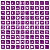 100 symbol icons set grunge purple. 100 symbol icons set in grunge style purple color isolated on white background vector illustration Vector Illustration