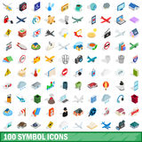 100 symbol icons set, isometric 3d style Royalty Free Stock Photo