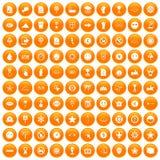 100 symbol icons set orange. 100 symbol icons set in orange circle isolated on white vector illustration Royalty Free Stock Photos