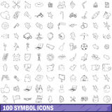 100 symbol icons set, outline style. 100 symbol icons set in outline style for any design vector illustration Royalty Free Stock Photography