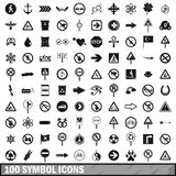 100 symbol icons set, simple style. 100 symbol icons set in simple style for any design vector illustration royalty free illustration