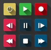 Symbol ikony odtwarzacza medialnego ustalonej kontrola biały round zapina Fotografia Stock