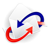 Symbol of incoming and outgoing mail. Symbol of incoming and outgoing correspondence Stock Images