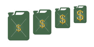 Increase of price of petrol. Symbol increasing of value of a petrol represented by diminution of size of a jerrycan with oil and a growth of a gold dollar size Vector Illustration