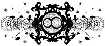 Symbol of infinity on decoration in black isolated Stock Photo