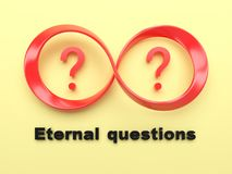 Symbol of infinity and question marks. Royalty Free Stock Images
