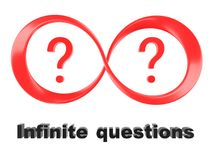 Symbol of infinity and question marks Stock Image