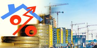 The symbol of interest on the background of the construction of a new residential area . The concept of increasing the growth of construction royalty free stock photos