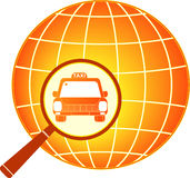 Symbol international taxi with planet Royalty Free Stock Images