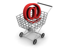 Symbol of the Internet. Very beautiful three-dimensional illustration. Consumer's basket and symbol of the Internet. 3d Royalty Free Stock Photos