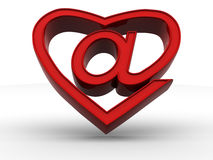 Symbol of internet as heart Royalty Free Stock Image