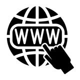 Symbol of the Internet, globe and cursor. Vector illustration Stock Image