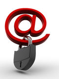 Symbol for internet with padlock. 3d Royalty Free Stock Photos