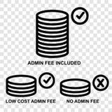 Symbol kategori tre av Admin-avgiften, på genomskinlig effektbakgrund vektor illustrationer