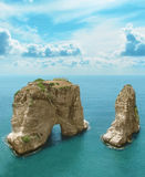 Symbol of Lebanon, Beirut Pigeon Rocks Royalty Free Stock Images