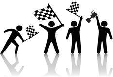 Symbol-Leute bewegen Checkered Markierungsfahnen-Trophäe wellenartig Stockfotografie