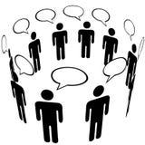 Symbol-Leute-Sozialmedia-Netz-Ring-Gruppen-Gespräch Stockfotos