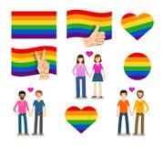 Symbol, logo banner, flag LGBT. Lesbian, Gay, Bisexual, Transgender icons Stock Images